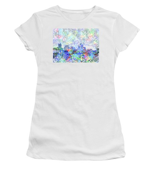 Women's T-Shirt (Junior Cut) featuring the painting Baltimore Skyline Watercolor 10 by Bekim Art