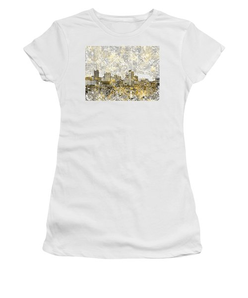 Women's T-Shirt (Junior Cut) featuring the painting Baltimore Skyline Watercolor 8 by Bekim Art