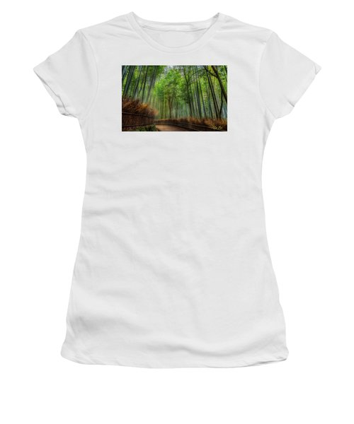 Women's T-Shirt (Athletic Fit) featuring the photograph Bamboo Path by Rikk Flohr