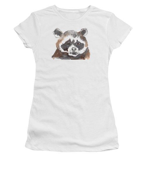 Bandit Raccoon Women's T-Shirt (Junior Cut) by Kathleen McElwaine