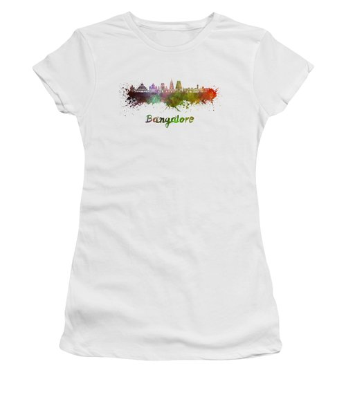 Bangalore Skyline In Watercolor Women's T-Shirt