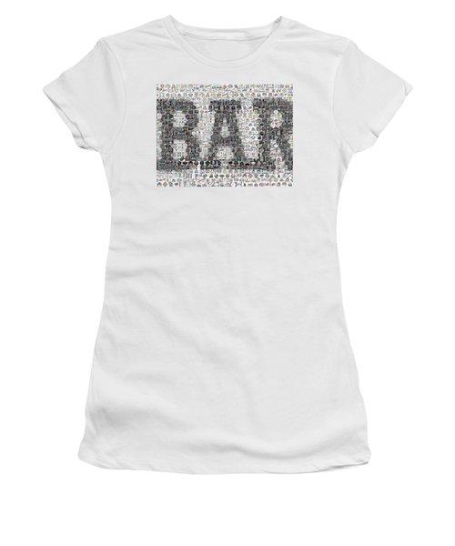 Women's T-Shirt (Junior Cut) featuring the mixed media Bar Sign Beer Label Mosaic by Paul Van Scott