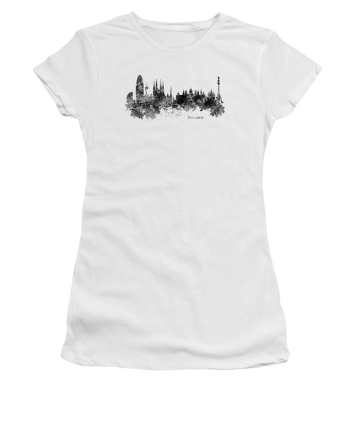 Barcelona Black And White Watercolor Skyline Women's T-Shirt (Junior Cut) by Marian Voicu