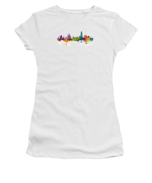 Barcelona Spain Skyline Panoramic Women's T-Shirt (Junior Cut) by Michael Tompsett