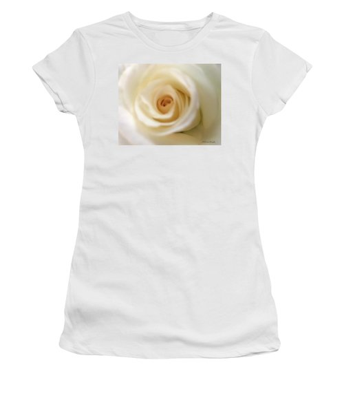Women's T-Shirt featuring the photograph Barely White Rose by Marian Palucci-Lonzetta