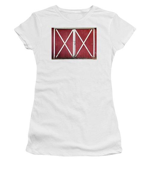 Women's T-Shirt (Junior Cut) featuring the photograph Red Barn Doors by Sheila Brown