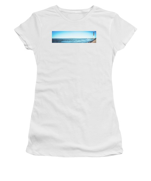 Women's T-Shirt (Junior Cut) featuring the photograph Barnegat Light Panorama by Colleen Kammerer