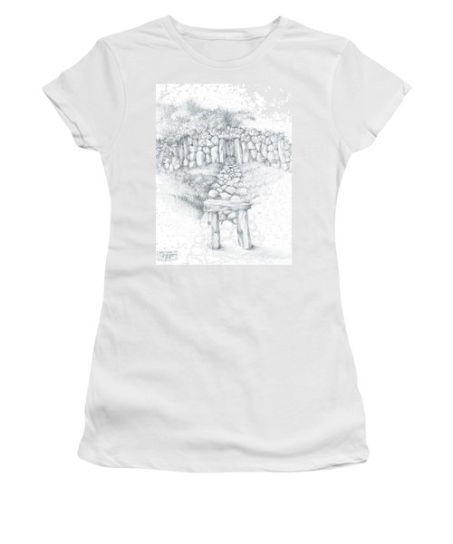 Women's T-Shirt (Junior Cut) featuring the drawing Barrow Tomb by Curtiss Shaffer
