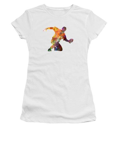 Baseball Player Catching A Ball Women's T-Shirt (Junior Cut) by Pablo Romero