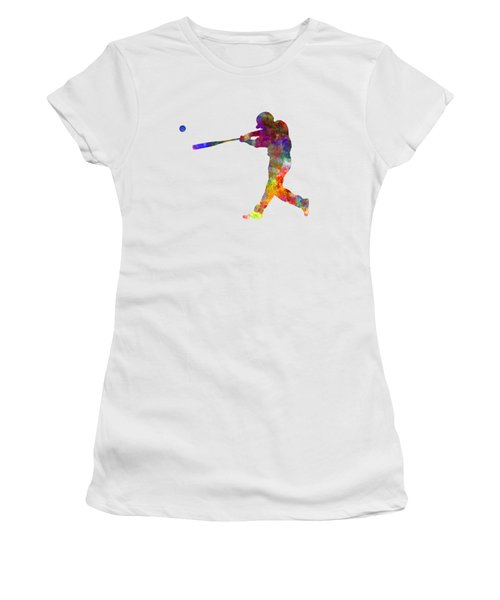Baseball Player Hitting A Ball 02 Women's T-Shirt (Athletic Fit)