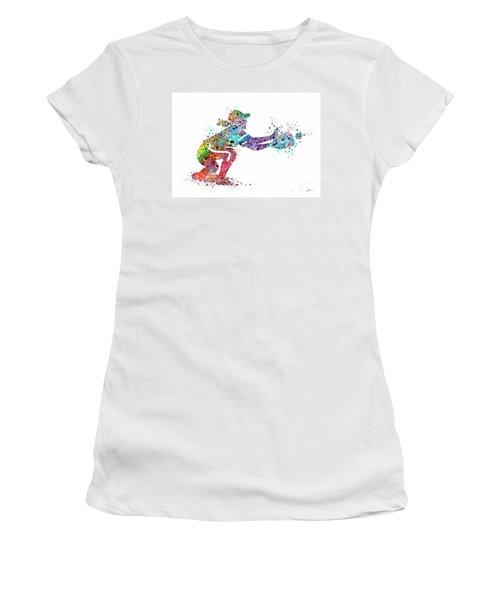 Baseball Softball Catcher 2 Sports Art Print Women's T-Shirt (Junior Cut) by Svetla Tancheva