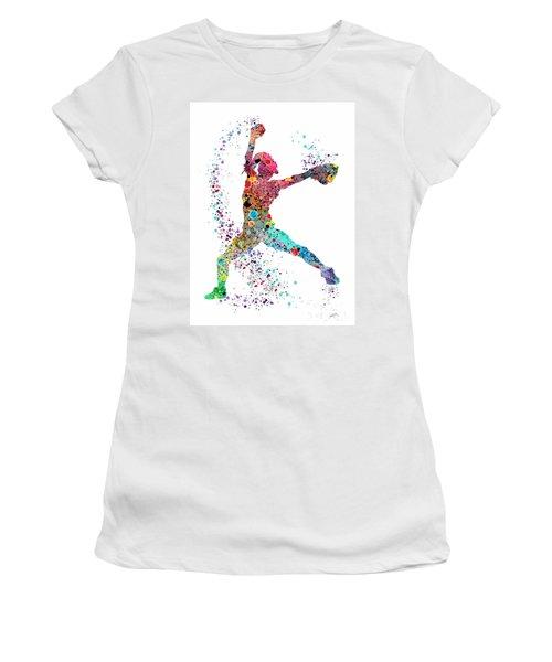 Baseball Softball Pitcher Watercolor Print Women's T-Shirt (Junior Cut) by Svetla Tancheva