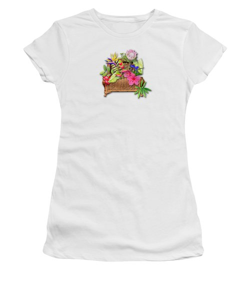 Basket Of Tropicals Women's T-Shirt (Junior Cut) by Larry Bishop