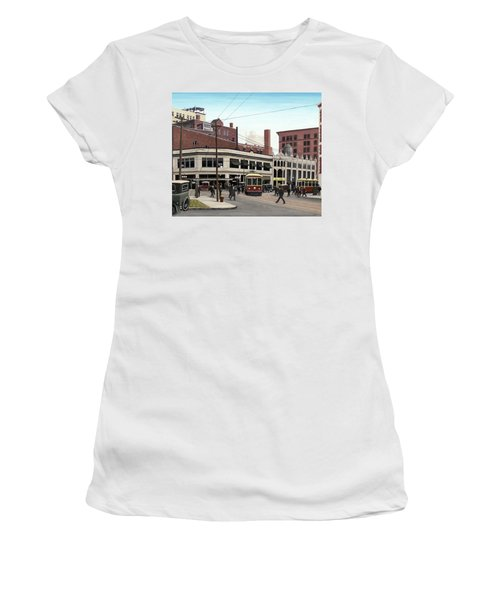 Women's T-Shirt (Junior Cut) featuring the painting Bay And Queen Streets C1940 by Kenneth M Kirsch
