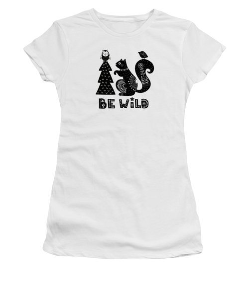 Be Wild Cute Owl And Squirrel In Scandinavian Style Women's T-Shirt