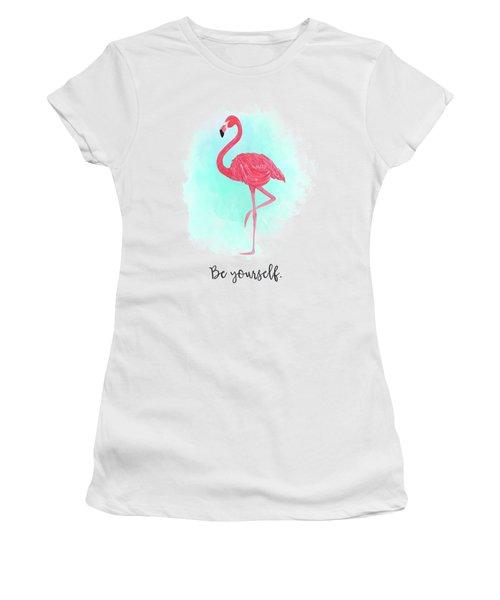 Be Yourself Flamingo Print Women's T-Shirt (Junior Cut) by Donna Gilbert