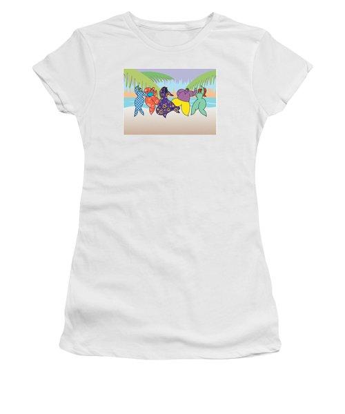 Beach Dancers Women's T-Shirt (Athletic Fit)