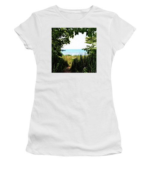Women's T-Shirt (Athletic Fit) featuring the photograph Beach Path With Snake Grass by Michelle Calkins