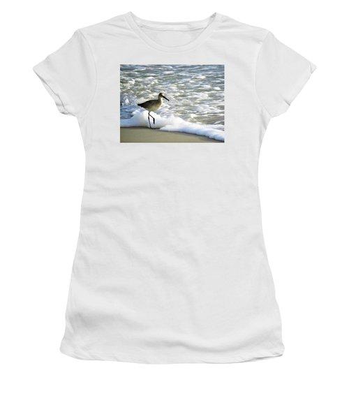 Beach Sandpiper Women's T-Shirt (Junior Cut) by Kathy Long
