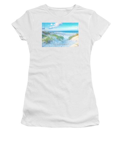 Beach Scripture Verse  Women's T-Shirt (Junior Cut) by Randy Steele
