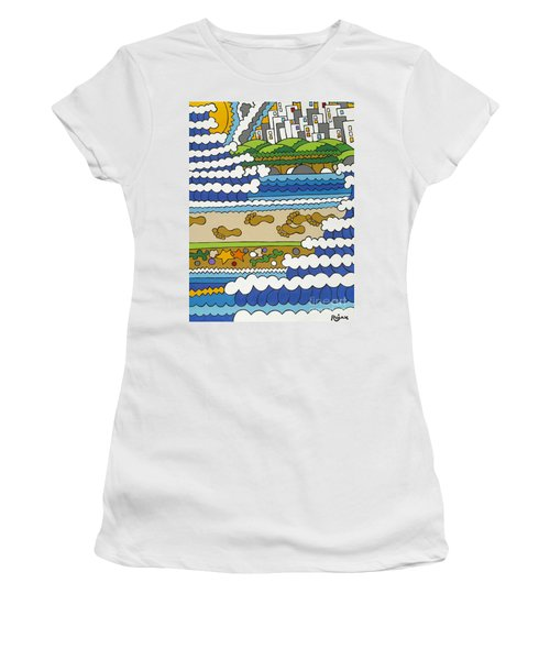 Beach Walk Foot Prints Women's T-Shirt (Athletic Fit)
