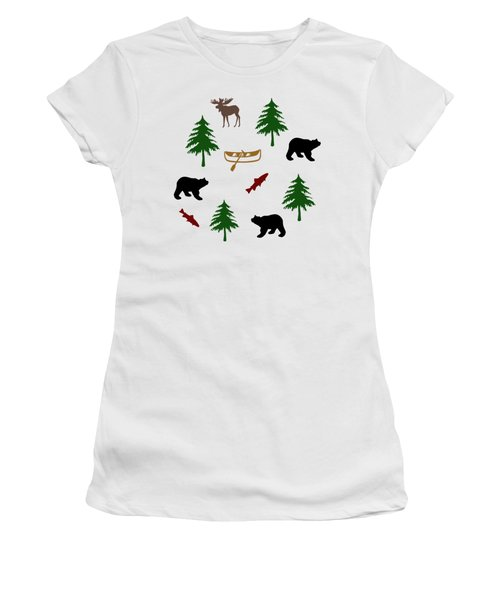 Bear Moose Pattern Women's T-Shirt (Athletic Fit)