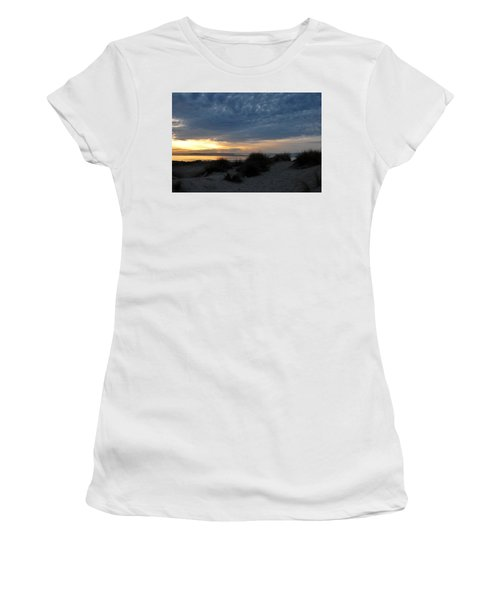 Beautiful Beach San Dunes Sunset And Clouds Women's T-Shirt (Athletic Fit)