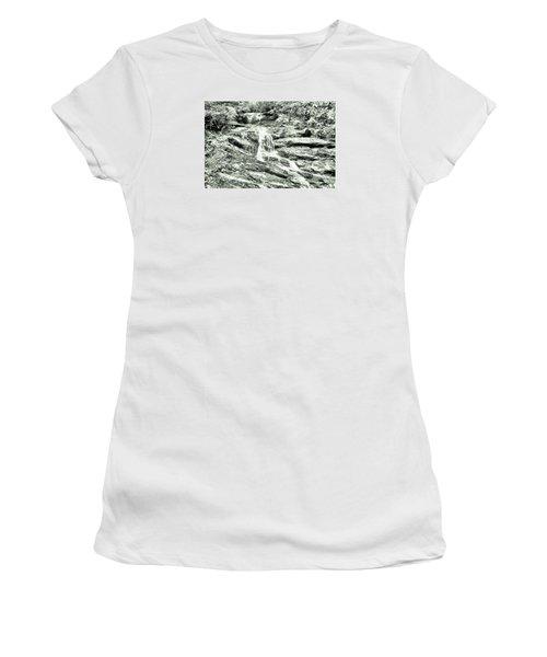 Becky Branch Falls In Green Monochrome Women's T-Shirt (Junior Cut) by James Potts