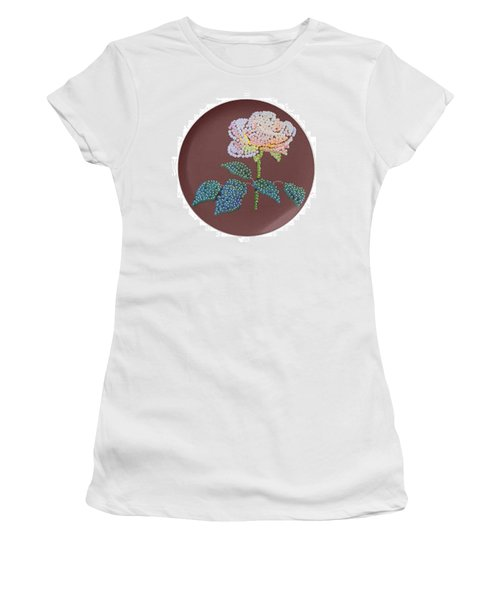 Women's T-Shirt (Junior Cut) featuring the digital art Bedazzed Rose Plate by R  Allen Swezey
