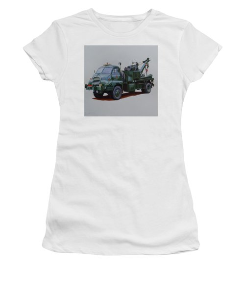 Women's T-Shirt (Junior Cut) featuring the painting Bedford Wrecker Afs by Mike Jeffries
