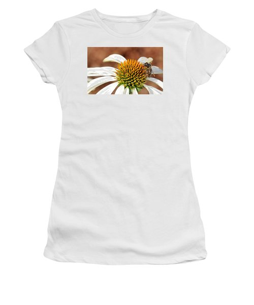 Women's T-Shirt (Athletic Fit) featuring the photograph Bee In The Echinacea  by AJ Schibig