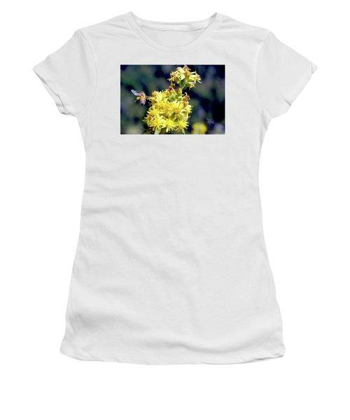 Women's T-Shirt (Junior Cut) featuring the photograph Bee On Goldenrod by Meta Gatschenberger