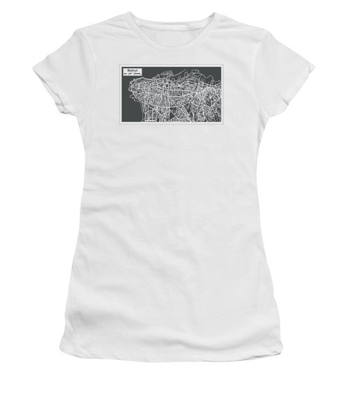Beirut Lebanon City Map In Retro Style. Women's T-Shirt