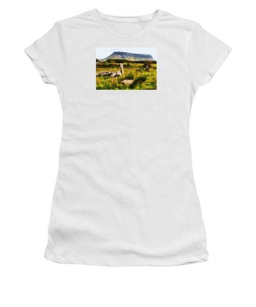Women's T-Shirt (Junior Cut) featuring the digital art Benbulben Sligo by Charmaine Zoe