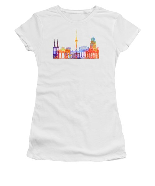 Berlin Landmarks Watercolor Poster Women's T-Shirt (Athletic Fit)