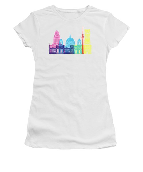 Berlin V2 Skyline Pop Women's T-Shirt (Junior Cut) by Pablo Romero