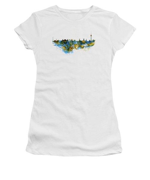 Berlin Watercolor Skyline Women's T-Shirt (Junior Cut) by Marian Voicu