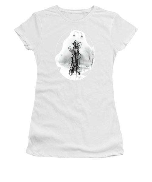Bicycle Lamppost In Winter Women's T-Shirt (Junior Cut) by Menega Sabidussi