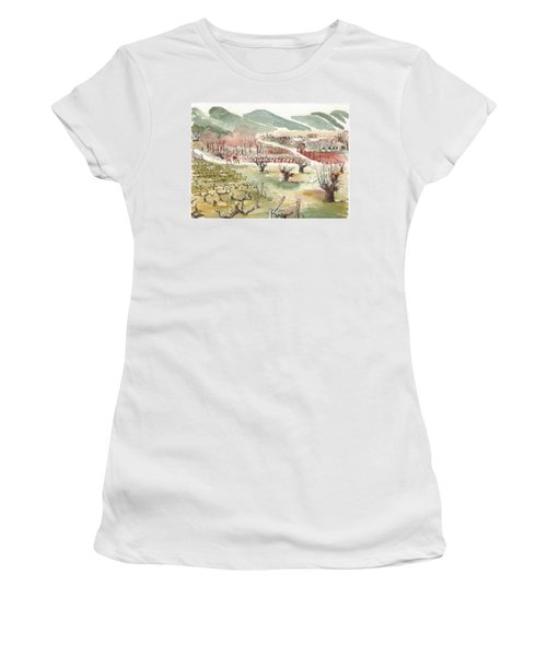 Women's T-Shirt (Junior Cut) featuring the painting Bicycling Through Vineyards by Tilly Strauss