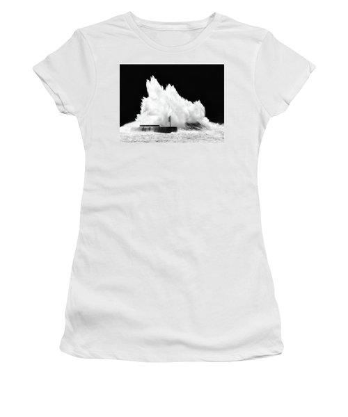 Big Wave Breaking On Breakwater Women's T-Shirt