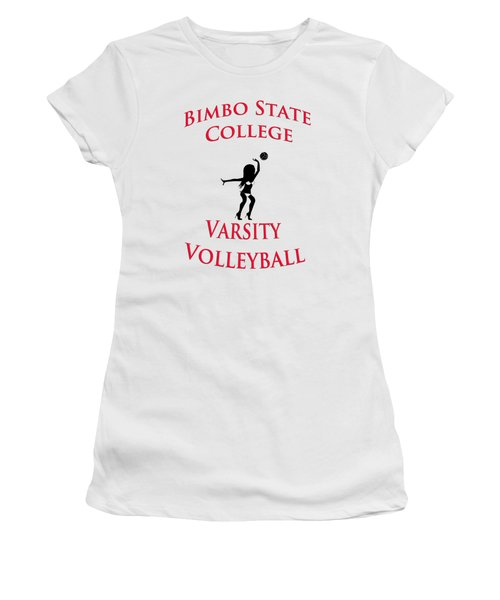 Women's T-Shirt (Junior Cut) featuring the drawing Bimbo State College - Varsity Volleyball by Bill Cannon