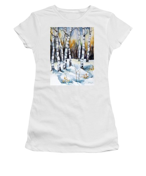 Women's T-Shirt (Junior Cut) featuring the painting The White Of Winter Birch by Inese Poga