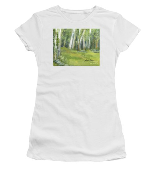 Birch Trees And Spring Field Women's T-Shirt (Athletic Fit)