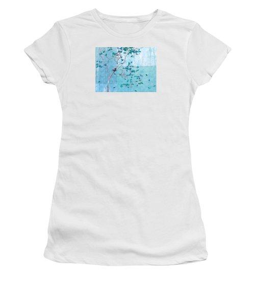 Women's T-Shirt (Junior Cut) featuring the digital art Bird In A Tree-1 by Nina Bradica