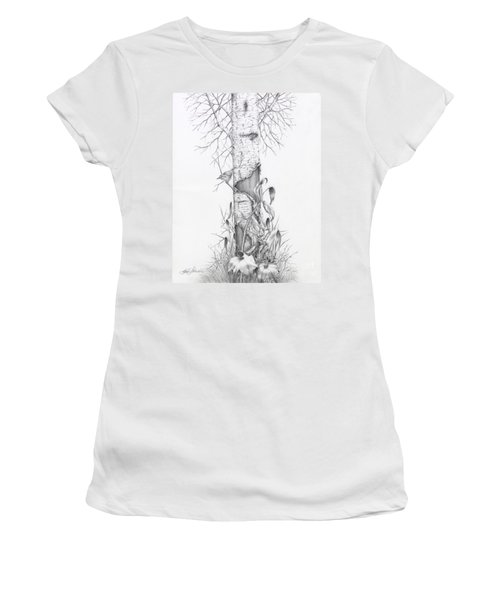 Bird In Birch Tree Women's T-Shirt (Athletic Fit)