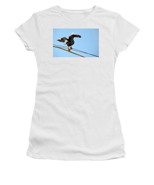 Women's T-Shirt (Athletic Fit) featuring the photograph Bird On The Wire by AJ Schibig
