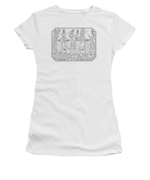 Birds In Flower Garden Coloring Page Women's T-Shirt (Athletic Fit)