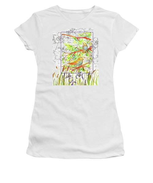 Women's T-Shirt (Junior Cut) featuring the painting Bluebirds Nature Collage by Cathie Richardson