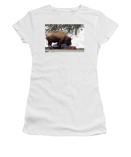 Bison Calf After Birth Women's T-Shirt (Athletic Fit)