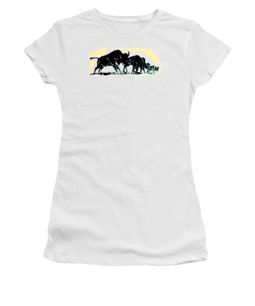 Bison Prairie Run Women's T-Shirt (Junior Cut) by Aliceann Carlton